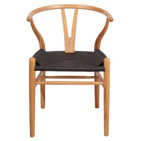 silla wishbone roble asiento negro