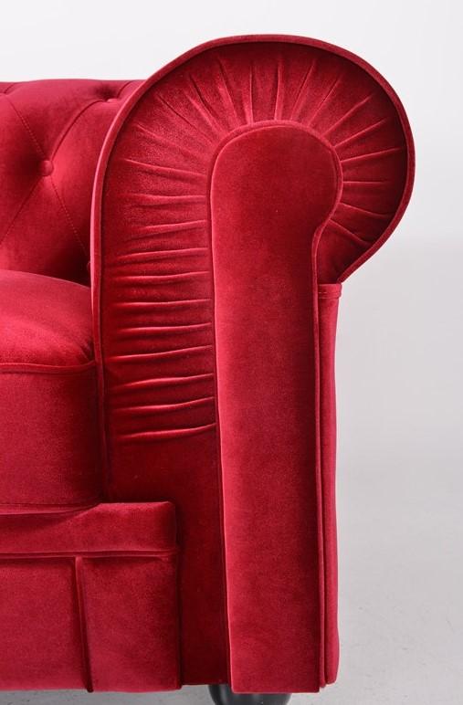 sofa chester terciopelo rojo