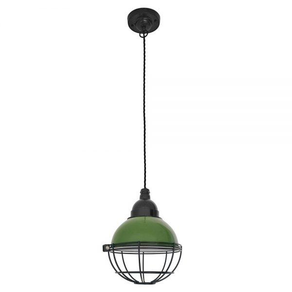 Lámpara Barcelona industrial de techo color verde
