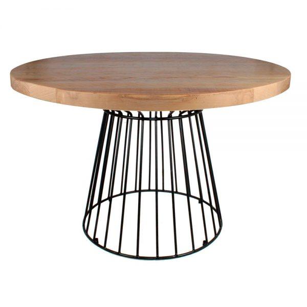 mesa redonda de varillas metálicas