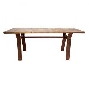 mesa comedor con tapa madera y patas oxidadas