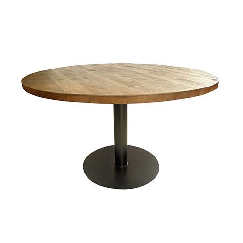 mesa redonda industrial madera y metal