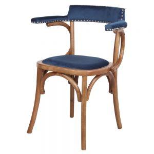 silla de comedor bistro azul terciopelo