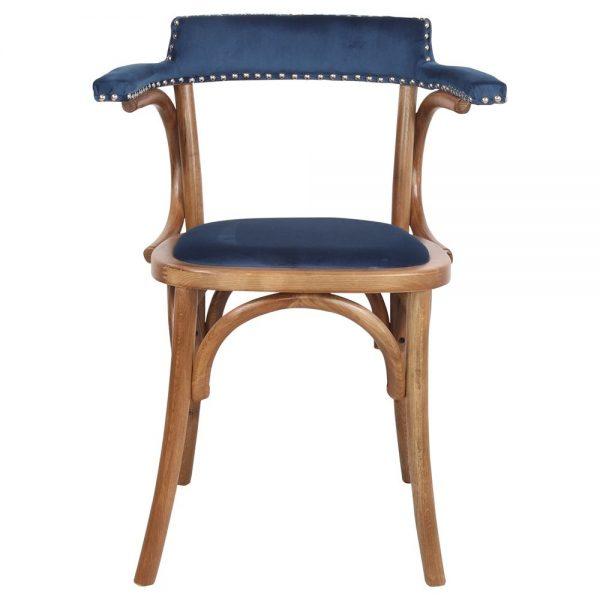 silla salon bistro azul terciopelo de comedor