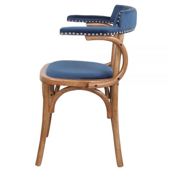 silla bistro terciopelo azul