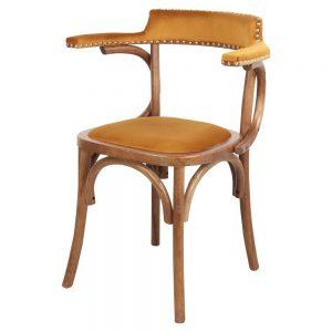 silla salon bistro mostaza terciopelo de comedor