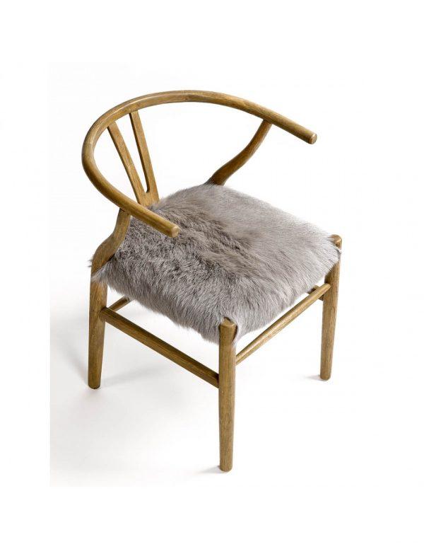 silla madera con asiento pelo
