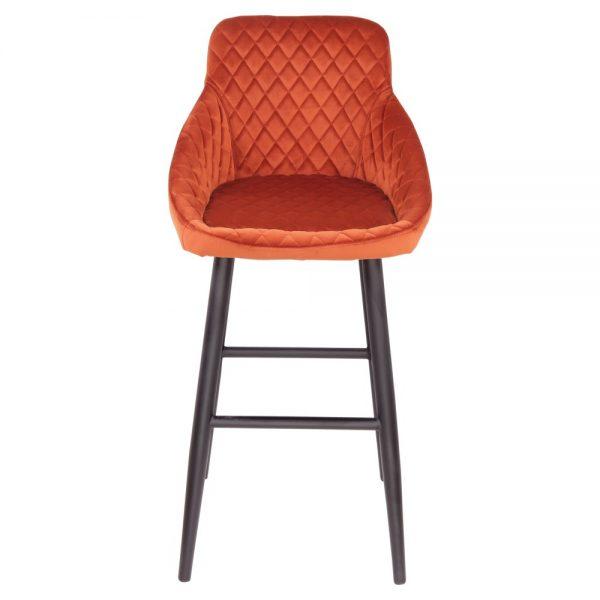 taburete alto terciopelo naranja patas color negro
