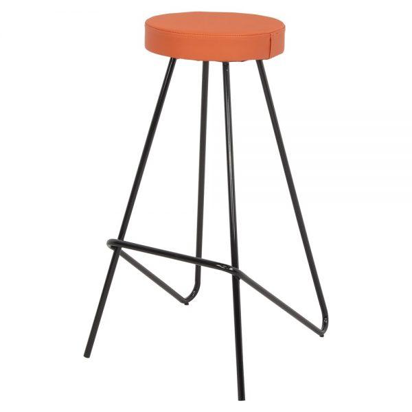 taburete industrial tapizado naranja
