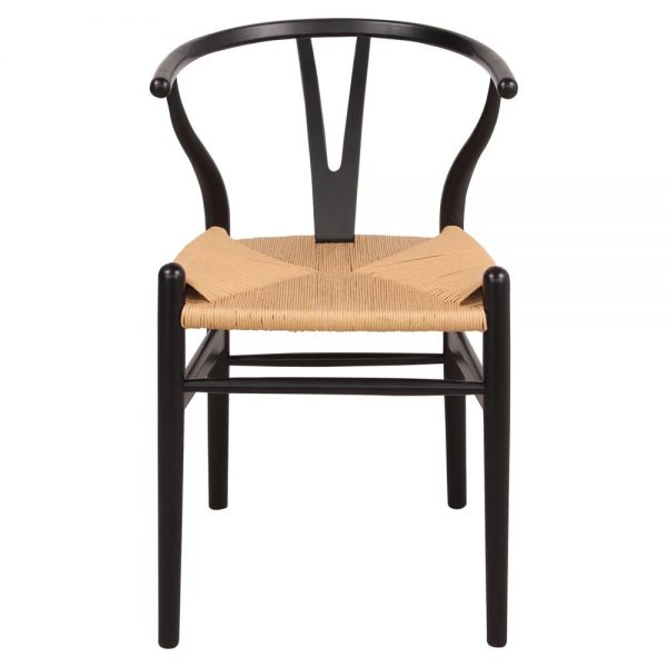silla wishbone negra asiento natural