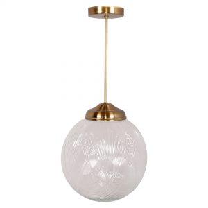 lampara de cristal con soporte dorado
