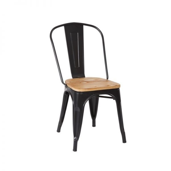 silla metálica negra con asiento de madera