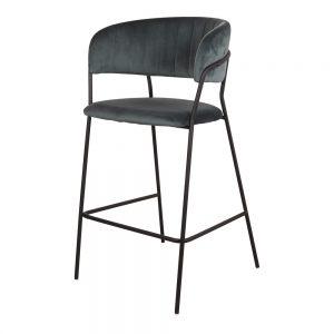 taburete alto tapizado azul patas metal negras