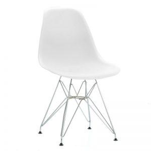 silla blanca con patas cromadas