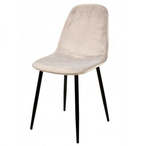 silla terciopelo gris con patas negras