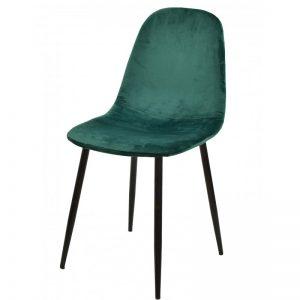 silla tapizada verde patas negras