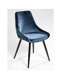 silla terciopelo azul marino patas negras
