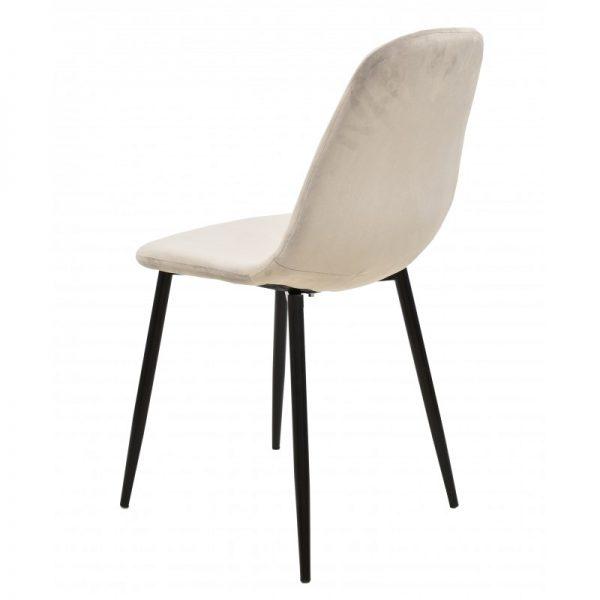 silla tapizada terciopelo gris patas negras
