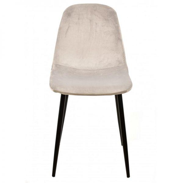 silla tapizada gris patas metal negras
