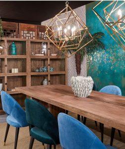 sillas tapizadas terciopelo azul