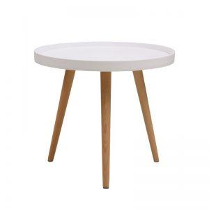 mesa baja tapa blanca y patas madera clara