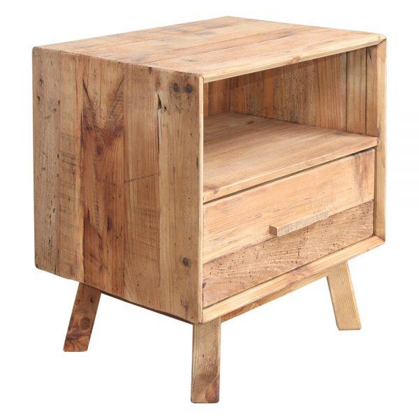 mesita de noche en madera rustica