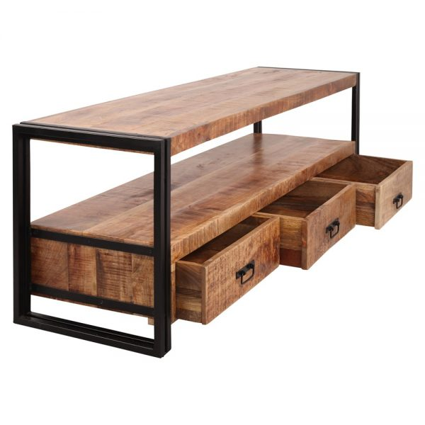 mueble tv industrial con cajones de madera
