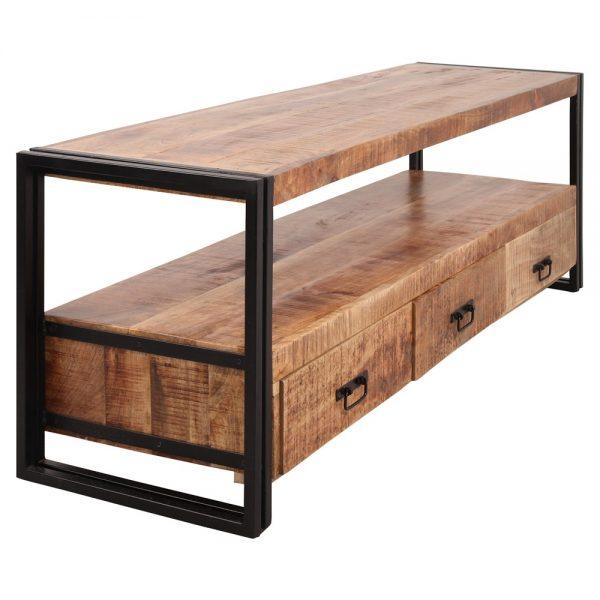mueble tv con cajones de madera y metal
