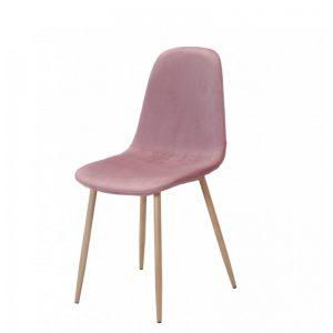 silla terciopelo rosa patas metal