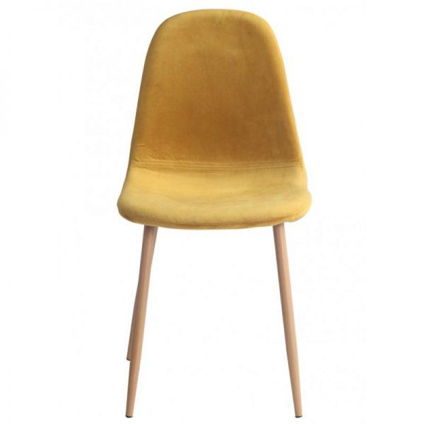 silla tapizada terciopelo ocre patas madera