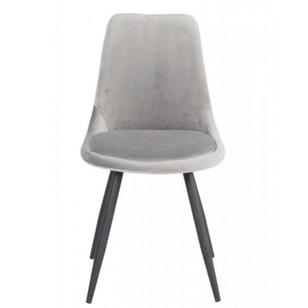 silla terciopelo color gris y patas metal negras