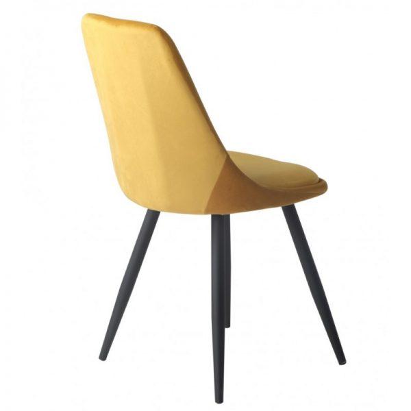 silla terciopelo amarillo mostaza patas negras
