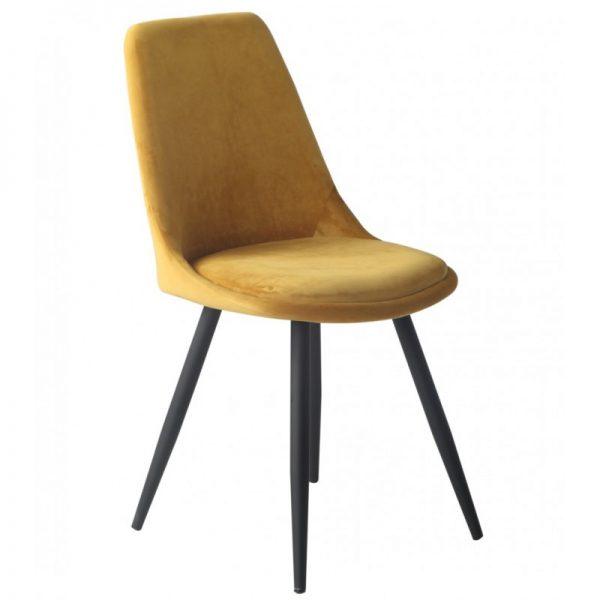 silla tapizada terciopelo amarillo patas negras