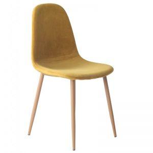 silla terciopelo ocre patas madera