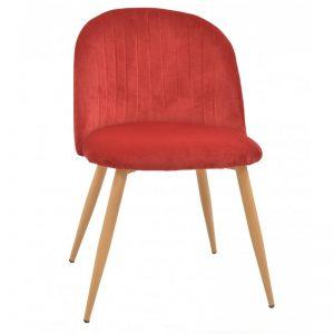 silla terciopelo rojo patas de madera