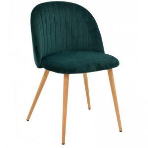 silla tapizada verde oscuro patas madera