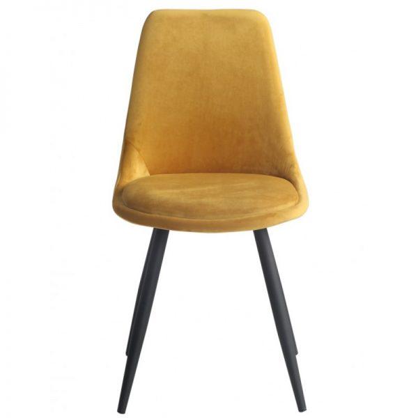 silla salon tapizada amarillo mostaza