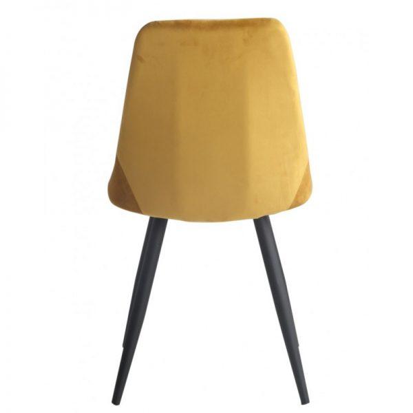 silla asiento tapizado amarillo mostaza patas negras