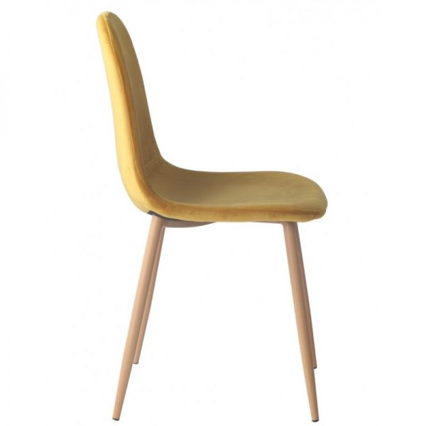 silla tapizada color ocre patas de madera