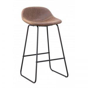 taburete alto asiento cuero patas negras