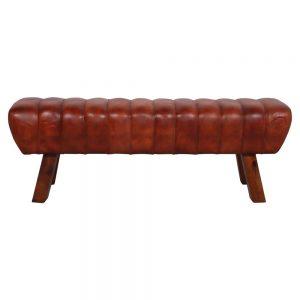 banco industrial tapizado cuero patas madera