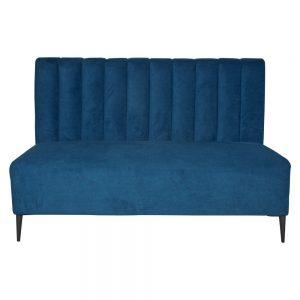 banco tapizado azul para hostelería