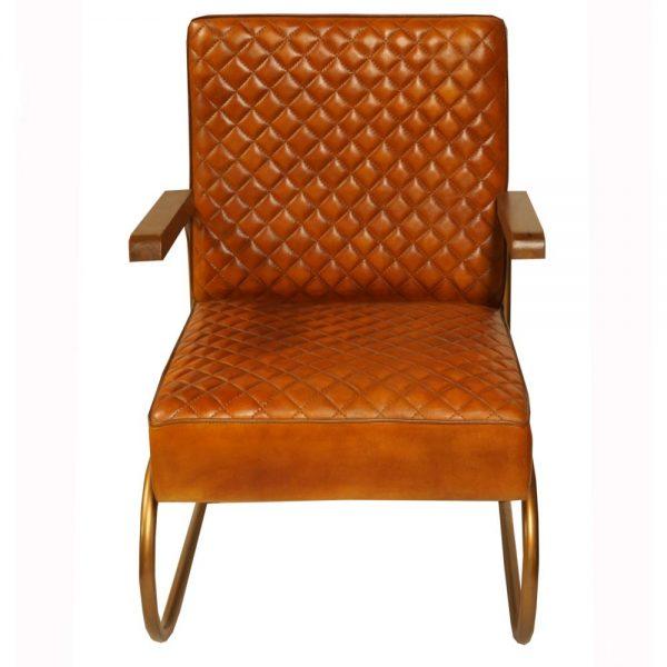 sillón industrial cuero marrón patas metal