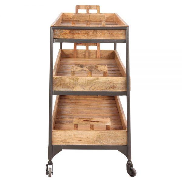estantería con ruedas madera y metal
