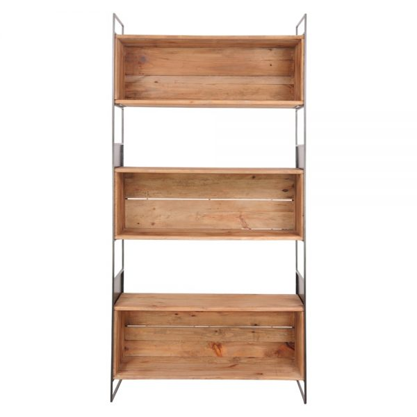 estantería industrial madera y metal