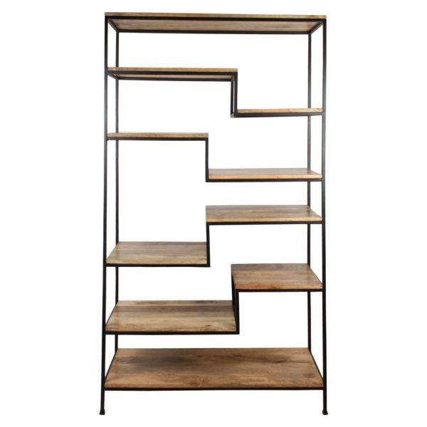 estantería industrial de madera y metal