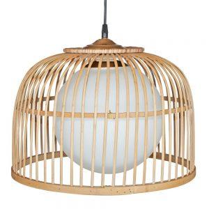 lámpara colgante en rattan natural estilo nórdico