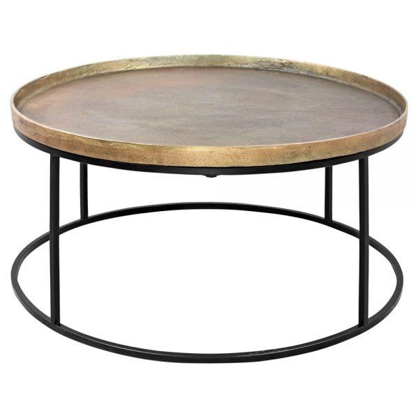 mesa centro dorada latón patas negras