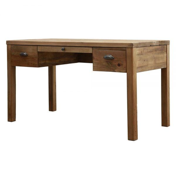 mesa escritorio madera rustica con cajones