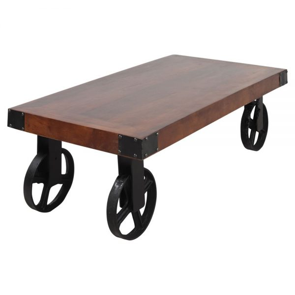 mesa centro con tapa madera y ruedas metal